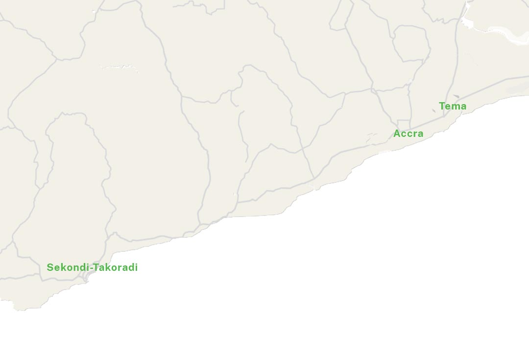 Ghana map Tema and Accra and secondi takoradi
